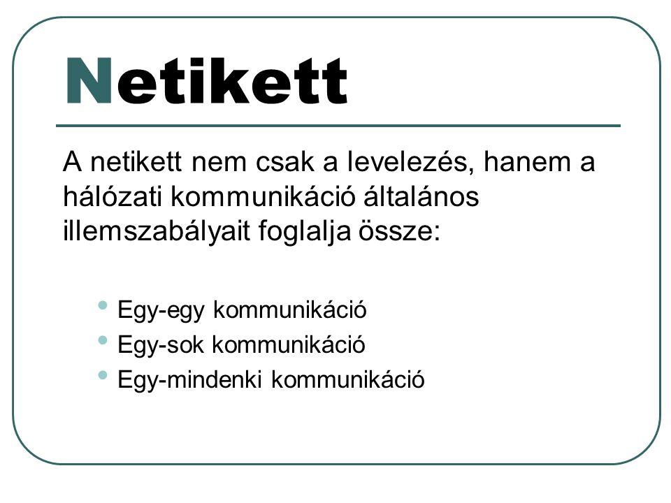 Netikett A netikett nem csak a levelezés, hanem a hálózati kommunikáció általános illemszabályait foglalja össze: Egy-egy kommunikáció Egy-sok kommuni
