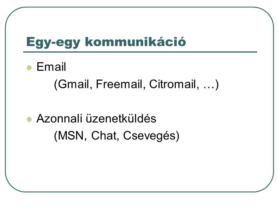 Egy-egy kommunikáció Email (Gmail, Freemail, Citromail, …) Azonnali üzenetküldés (MSN, Chat, Csevegés)