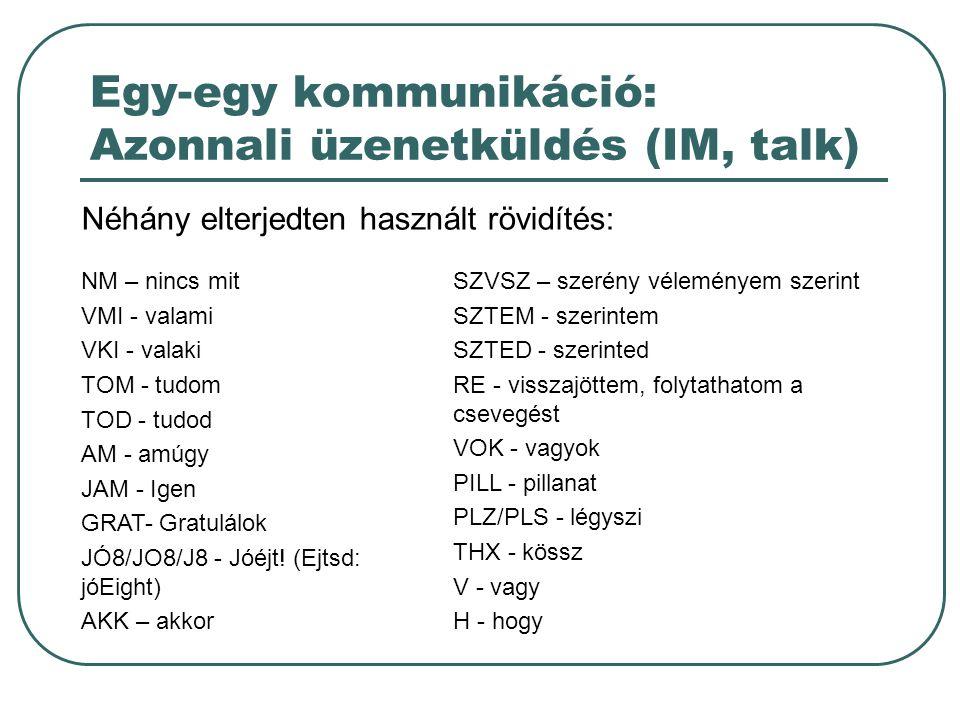 Egy-egy kommunikáció: Azonnali üzenetküldés (IM, talk) Néhány elterjedten használt rövidítés: NM – nincs mit VMI - valami VKI - valaki TOM - tudom TOD