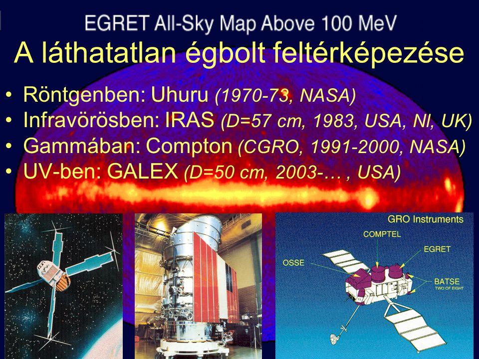 A láthatatlan égbolt feltérképezése Röntgenben: Uhuru (1970-73, NASA) Infravörösben: IRAS (D=57 cm, 1983, USA, Nl, UK) Gammában: Compton (CGRO, 1991-2