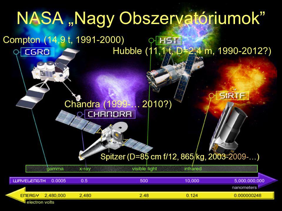 """Spitzer (D=85 cm f/12, 865 kg, 2003-2009-…) NASA """"Nagy Obszervatóriumok"""" Compton (14,9 t, 1991-2000) Hubble (11,1 t, D=2,4 m, 1990-2012?) Chandra (199"""