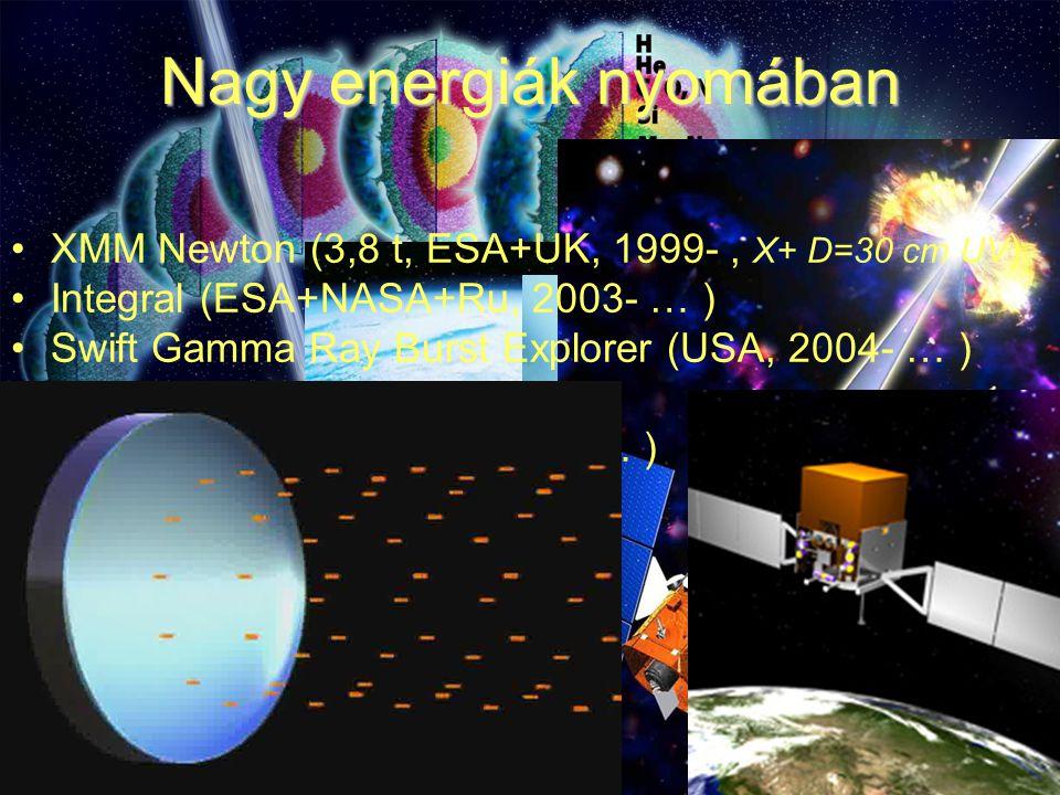 Nagy energiák nyomában XMM Newton (3,8 t, ESA+UK, 1999-, X+ D=30 cm UV ) Integral (ESA+NASA+Ru, 2003- … ) Swift Gamma Ray Burst Explorer (USA, 2004- …