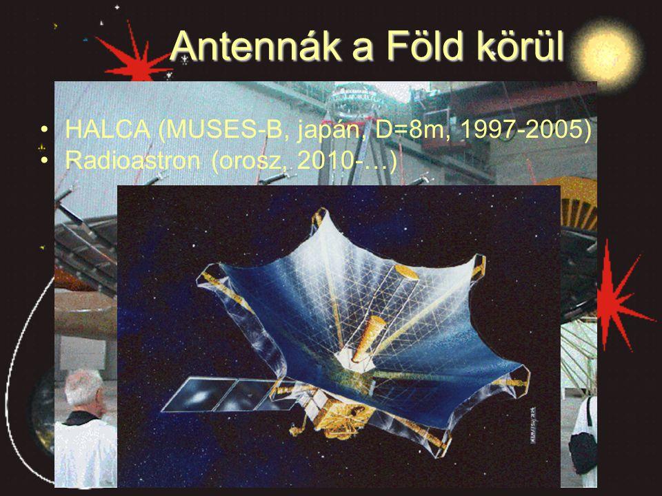 Antennák a Föld körül HALCA (MUSES-B, japán, D=8m, 1997-2005) Radioastron (orosz, 2010-…)