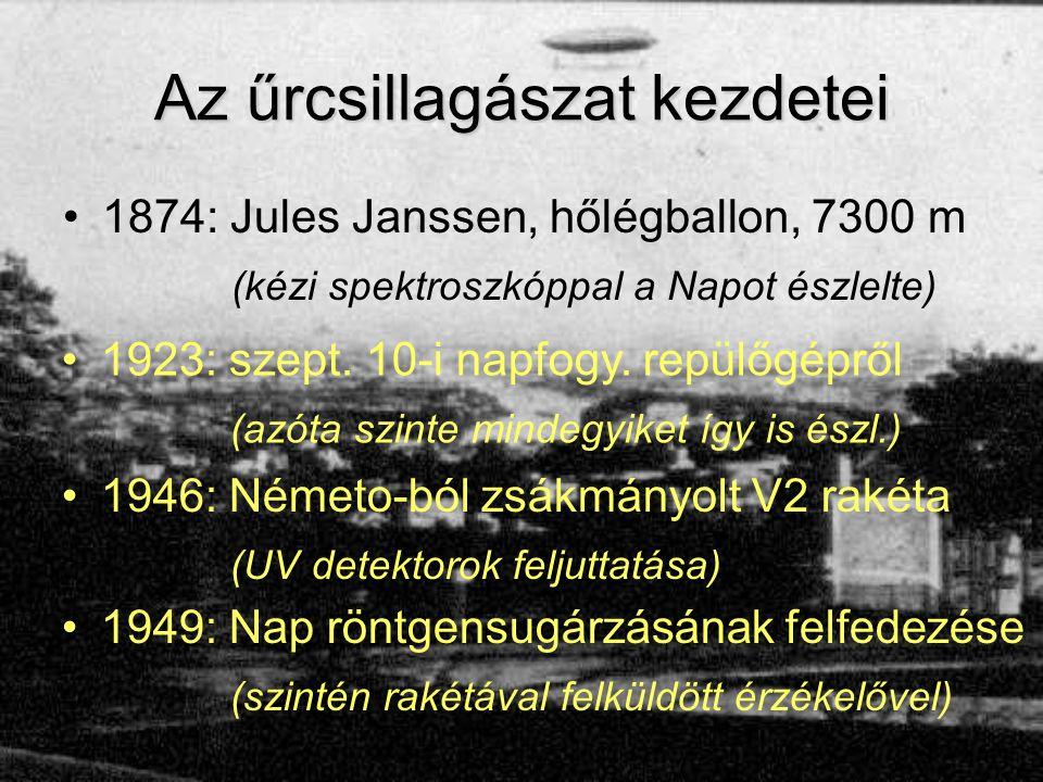 Az űrcsillagászat kezdetei 1874: Jules Janssen, hőlégballon, 7300 m (kézi spektroszkóppal a Napot észlelte) 1923: szept. 10-i napfogy. repülőgépről (a