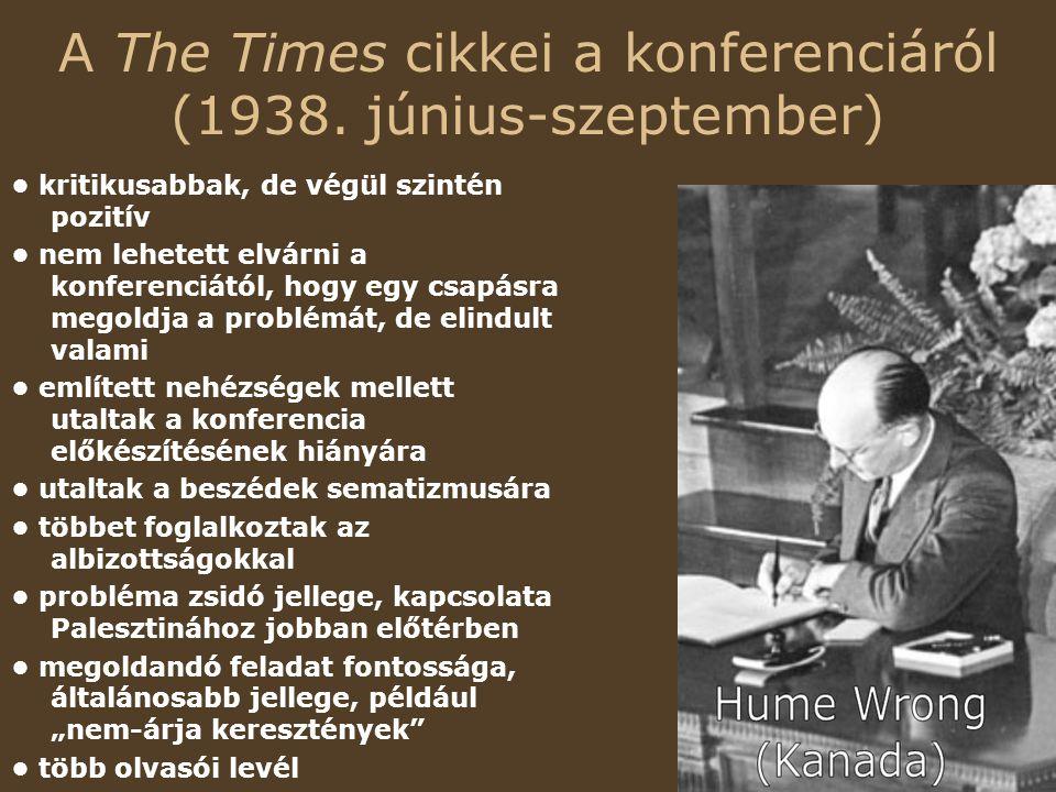 A The Times cikkei a konferenciáról (1938.