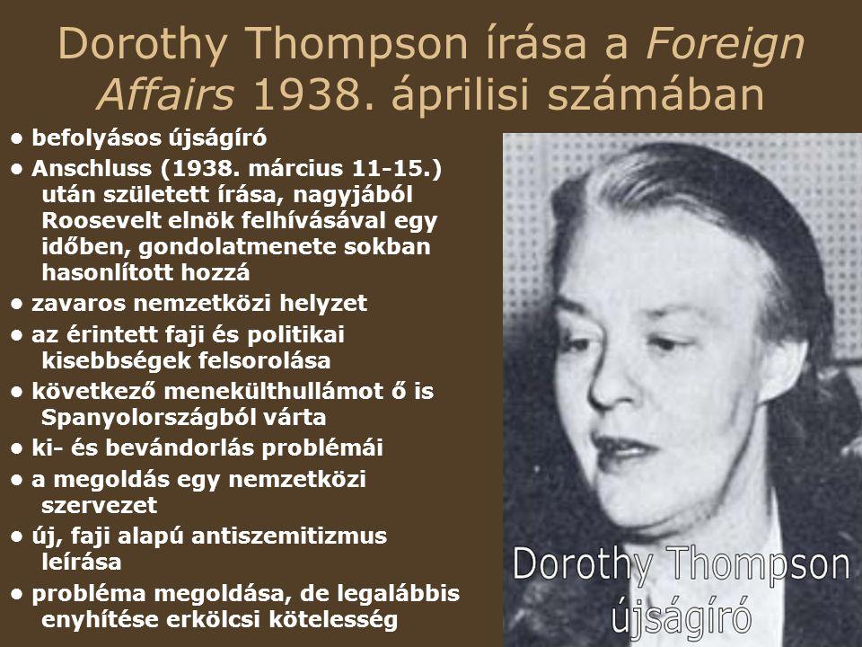 Dorothy Thompson írása a Foreign Affairs 1938.