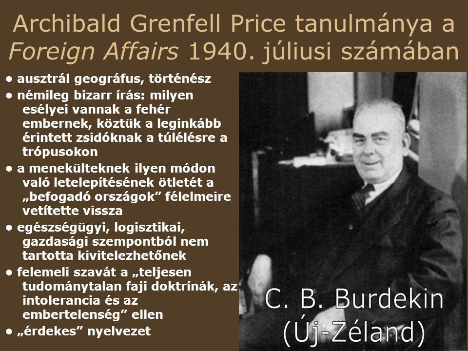 Archibald Grenfell Price tanulmánya a Foreign Affairs 1940.