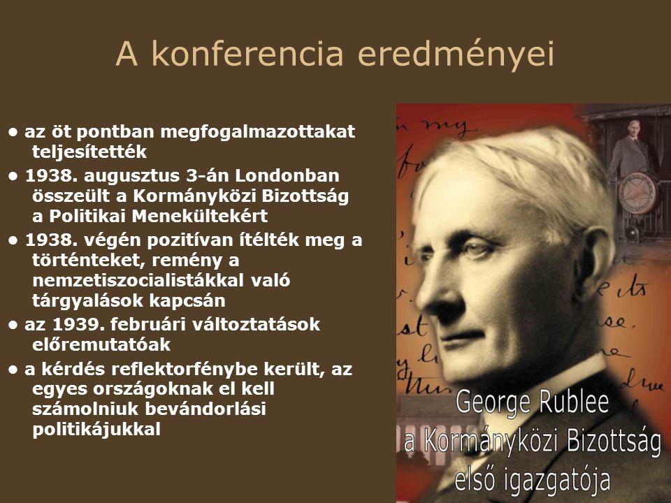 A konferencia eredményei az öt pontban megfogalmazottakat teljesítették 1938.