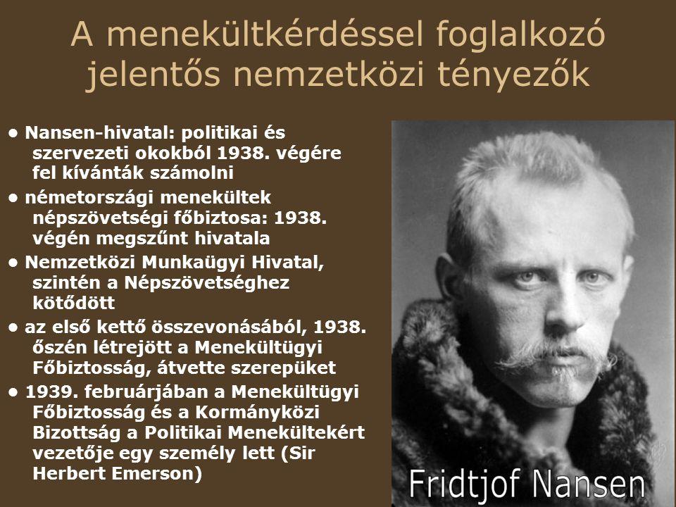 A menekültkérdéssel foglalkozó jelentős nemzetközi tényezők Nansen-hivatal: politikai és szervezeti okokból 1938.