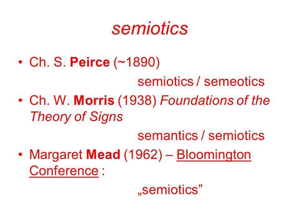 semiotics Ch. S. Peirce (~1890) semiotics / semeotics Ch. W. Morris (1938) Foundations of the Theory of Signs semantics / semiotics Margaret Mead (196