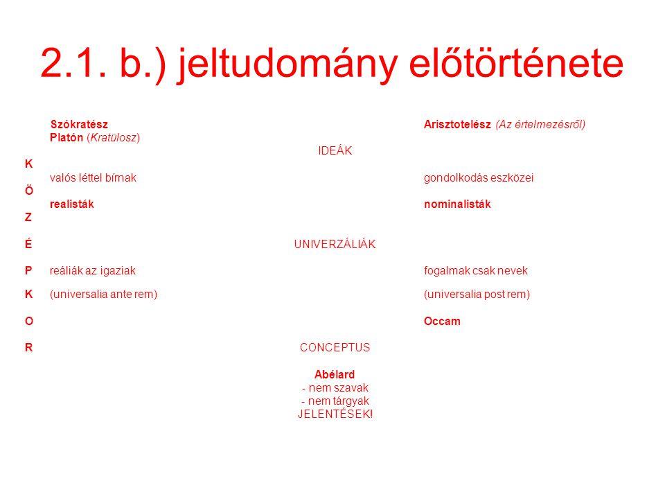 2.1. b.) jeltudomány előtörténete SzókratészArisztotelész (Az értelmezésről) Platón (Kratülosz) IDEÁK K valós léttel bírnakgondolkodás eszközei Ö real