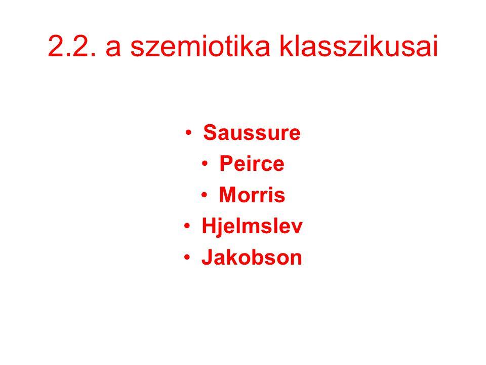 2.2. a szemiotika klasszikusai Saussure Peirce Morris Hjelmslev Jakobson