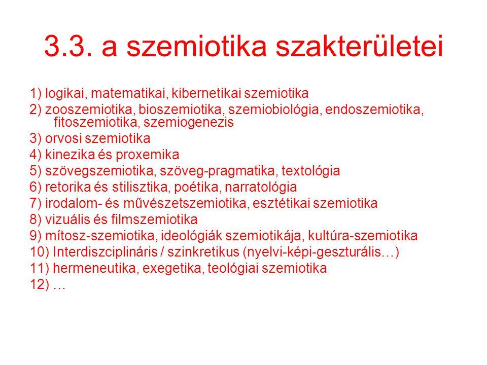 3.3. a szemiotika szakterületei 1) logikai, matematikai, kibernetikai szemiotika 2) zooszemiotika, bioszemiotika, szemiobiológia, endoszemiotika, fito