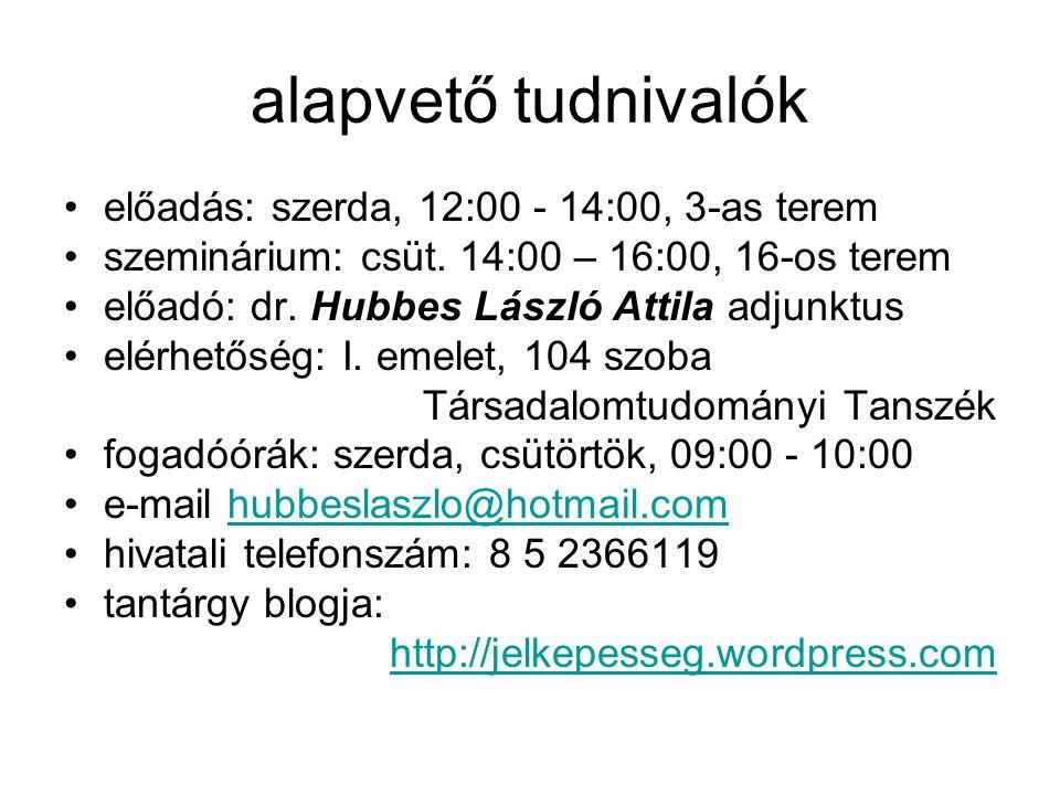 alapvető tudnivalók előadás: szerda, 12:00 - 14:00, 3-as terem szeminárium: csüt. 14:00 – 16:00, 16-os terem előadó: dr. Hubbes László Attila adjunktu