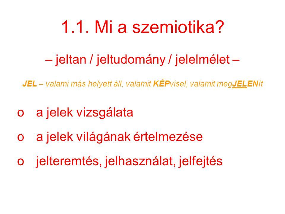1.1. Mi a szemiotika? – jeltan / jeltudomány / jelelmélet – JEL – valami más helyett áll, valamit KÉPvisel, valamit megJELENít oa jelek vizsgálata oa