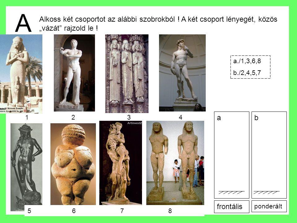 """A Alkoss két csoportot az alábbi szobrokból ! A két csoport lényegét, közös """"vázát"""" rajzold le ! frontális ponderált a./1,3,6,8 b./2,4,5,7 ab 1 2 3 4"""
