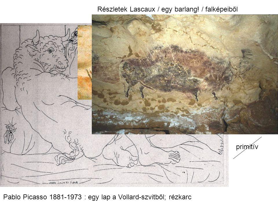 primitív Pablo Picasso 1881-1973 : egy lap a Vollard-szvitből; rézkarc Részletek Lascaux / egy barlang! / falképeiből