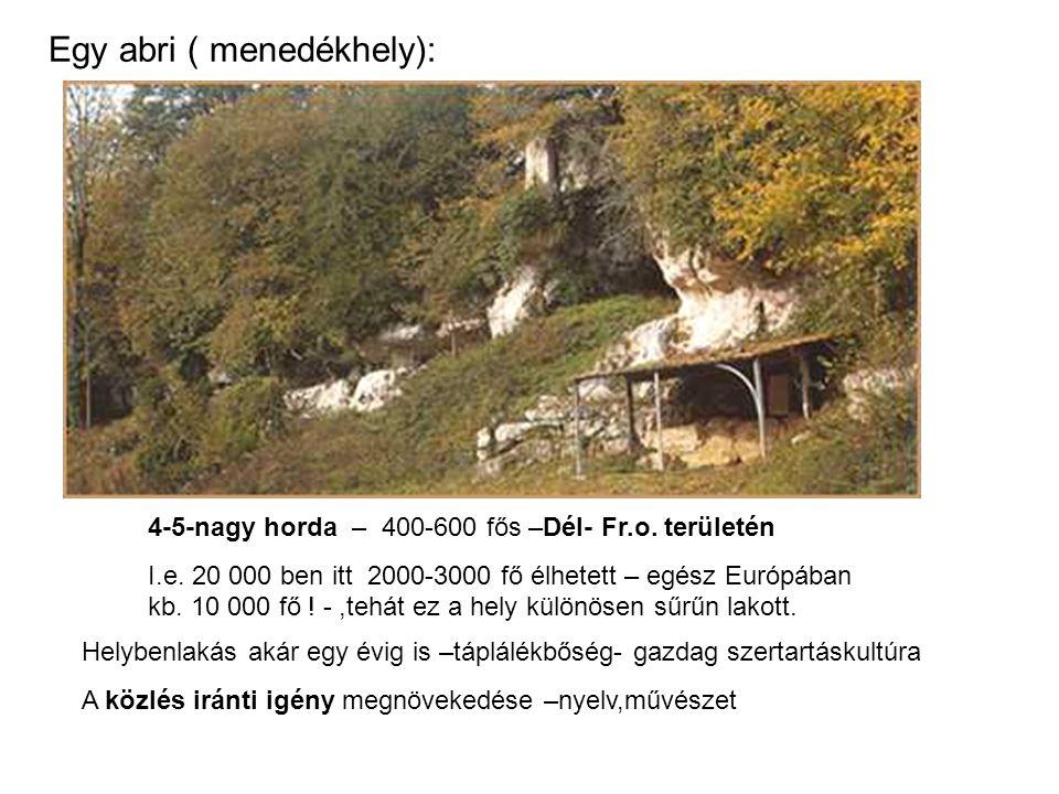 Egy abri ( menedékhely): 4-5-nagy horda – 400-600 fős –Dél- Fr.o. területén I.e. 20 000 ben itt 2000-3000 fő élhetett – egész Európában kb. 10 000 fő