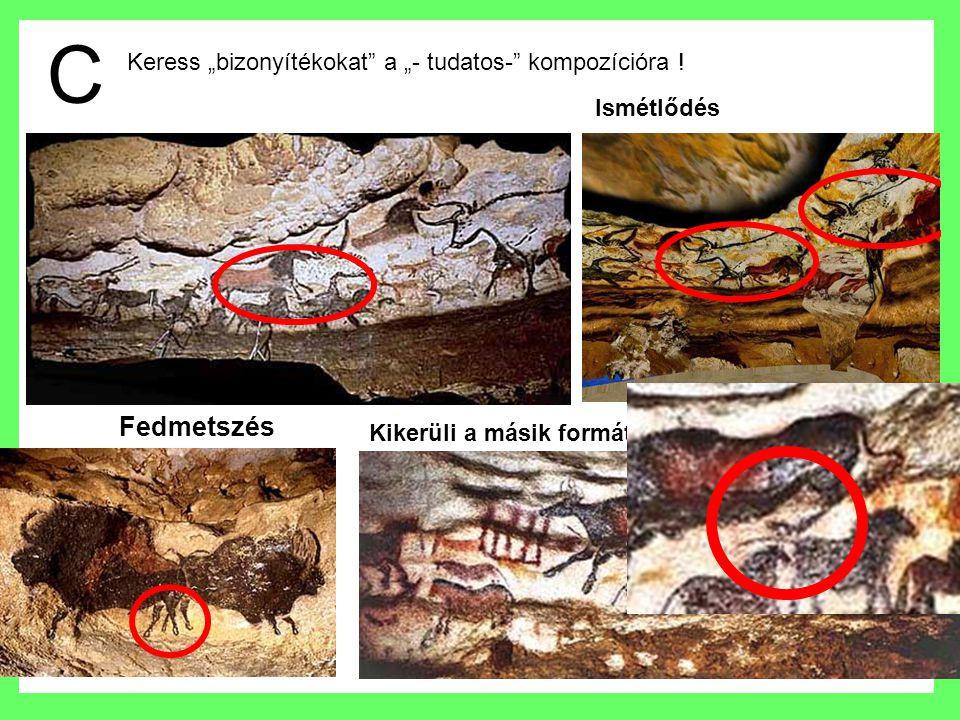 Téma : nagy bika közepes ló kis állatok intermezzo : szarvas állatok 5x bekarcolva 4 és félszer színekkel kitöltve Lascaux :rendszere van, ismétlődések :