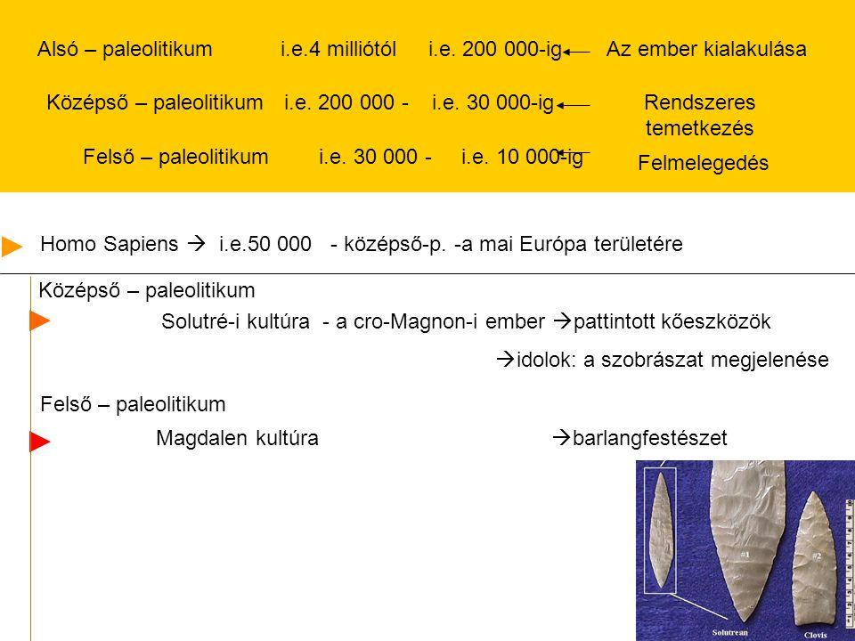Alsó – paleolitikum i.e.4 milliótól i.e. 200 000-igAz ember kialakulása Középső – paleolitikum i.e. 200 000 - i.e. 30 000-ig Felső – paleolitikum i.e.