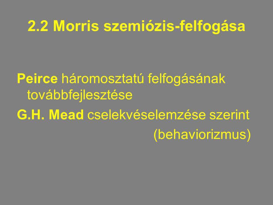 2.2 Morris szemiózis-felfogása Peirce háromosztatú felfogásának továbbfejlesztése G.H. Mead cselekvéselemzése szerint (behaviorizmus)