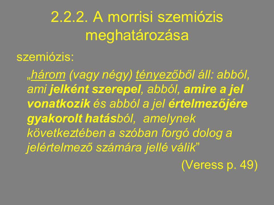 """2.2.2. A morrisi szemiózis meghatározása szemiózis: """"három (vagy négy) tényezőből áll: abból, ami jelként szerepel, abból, amire a jel vonatkozik és a"""