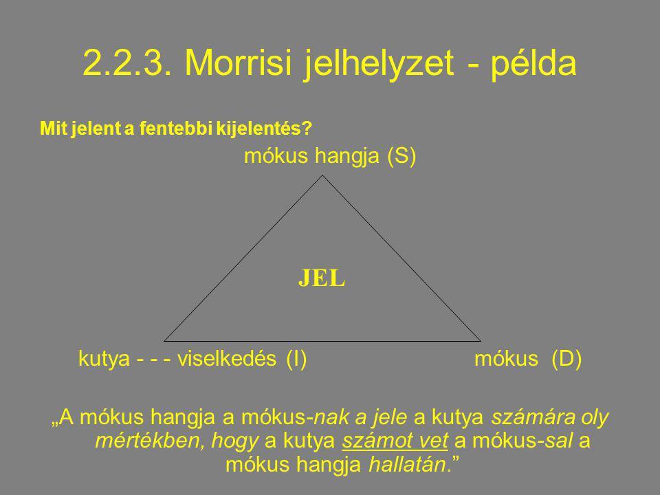 """2.2.3. Morrisi jelhelyzet - példa Mit jelent a fentebbi kijelentés? mókus hangja (S) kutya - - - viselkedés (I) mókus (D) """"A mókus hangja a mókus-nak"""