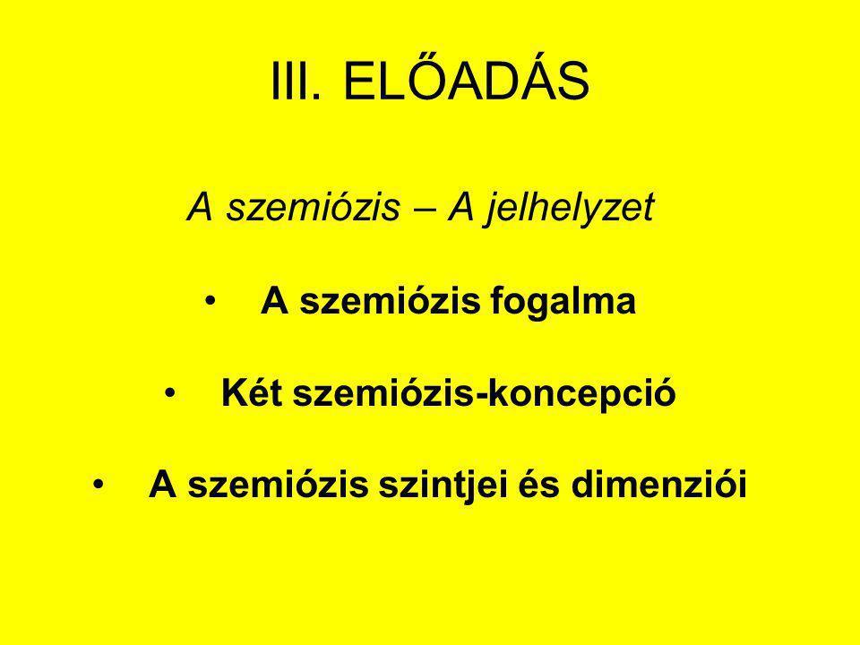 III. ELŐADÁS A szemiózis – A jelhelyzet A szemiózis fogalma Két szemiózis-koncepció A szemiózis szintjei és dimenziói