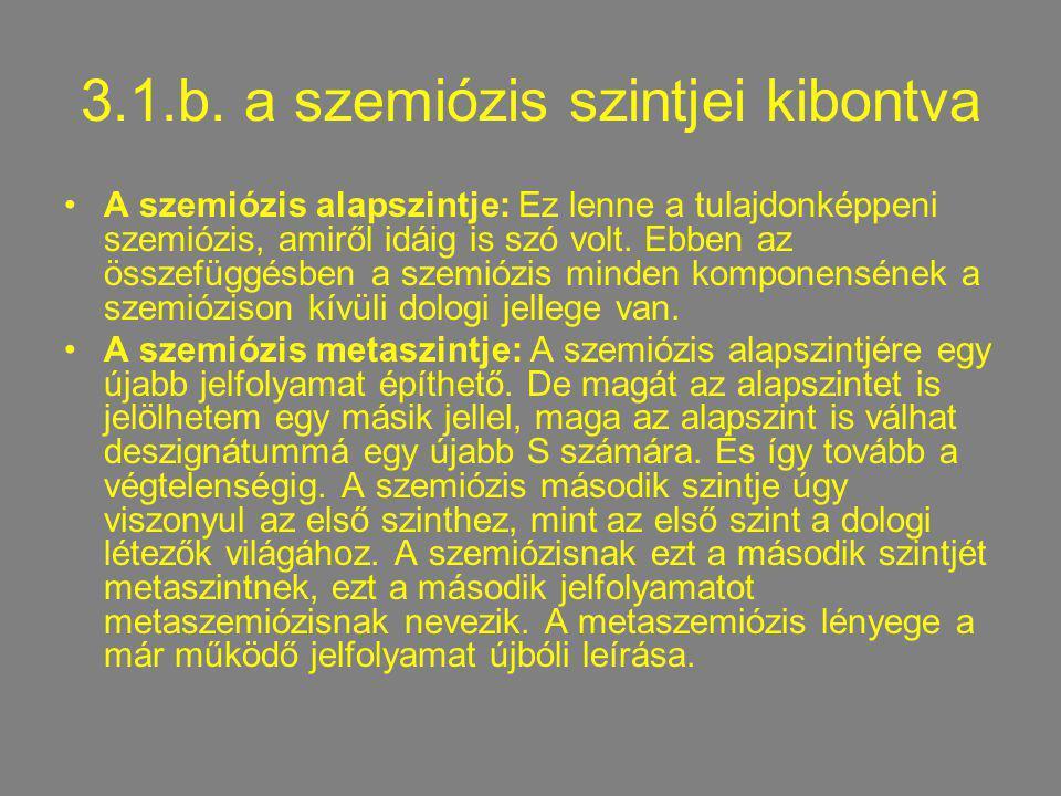 3.1.b. a szemiózis szintjei kibontva A szemiózis alapszintje: Ez lenne a tulajdonképpeni szemiózis, amiről idáig is szó volt. Ebben az összefüggésben