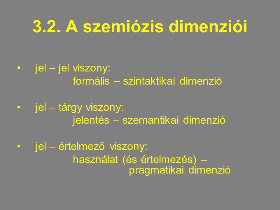 3.2. A szemiózis dimenziói jel – jel viszony: formális – szintaktikai dimenzió jel – tárgy viszony: jelentés – szemantikai dimenzió jel – értelmező vi