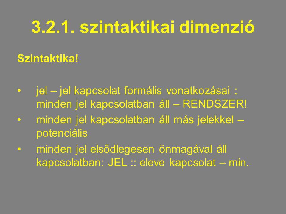 3.2.1. szintaktikai dimenzió Szintaktika! jel – jel kapcsolat formális vonatkozásai : minden jel kapcsolatban áll – RENDSZER! minden jel kapcsolatban