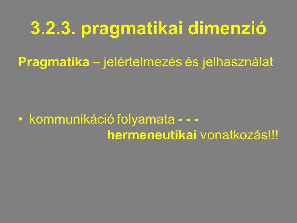3.2.3. pragmatikai dimenzió Pragmatika – jelértelmezés és jelhasználat kommunikáció folyamata - - - hermeneutikai vonatkozás!!!