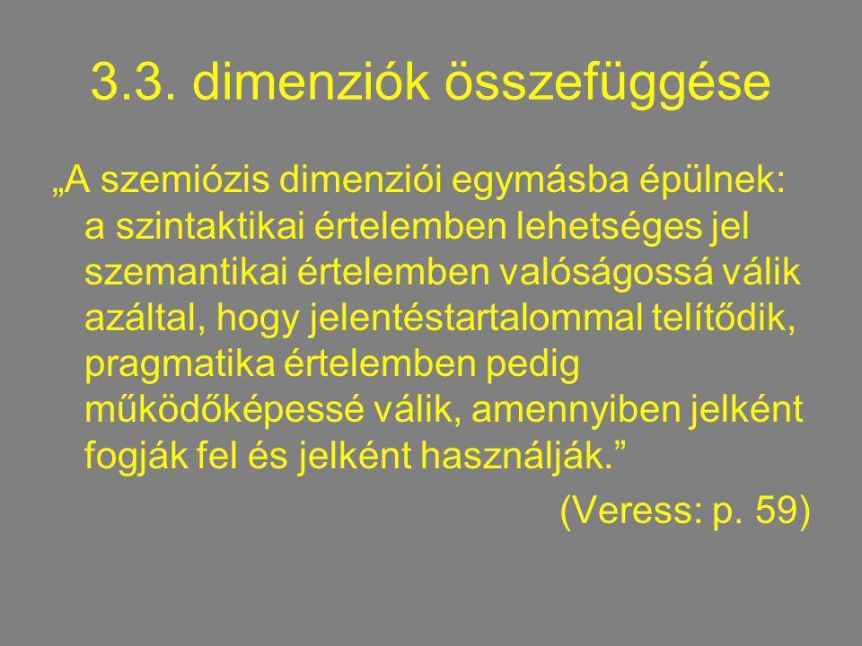 """3.3. dimenziók összefüggése """"A szemiózis dimenziói egymásba épülnek: a szintaktikai értelemben lehetséges jel szemantikai értelemben valóságossá válik"""