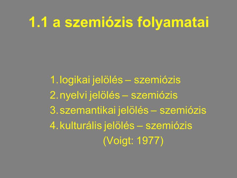 1.1 a szemiózis folyamatai 1.logikai jelölés – szemiózis 2.nyelvi jelölés – szemiózis 3.szemantikai jelölés – szemiózis 4.kulturális jelölés – szemióz