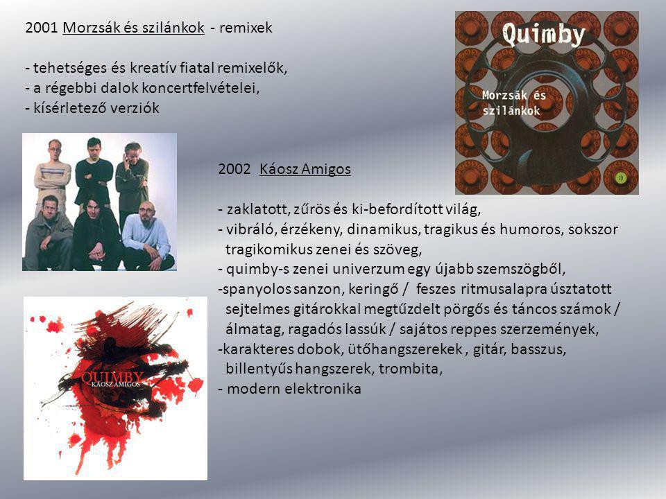 2001 Morzsák és szilánkok - remixek - tehetséges és kreatív fiatal remixelők, - a régebbi dalok koncertfelvételei, - kísérletező verziók 2002 Káosz Am