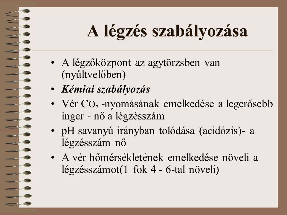 A légzés szabályozása A légzőközpont az agytörzsben van (nyúltvelőben) Kémiai szabályozás Vér C O 2 -nyomásának emelkedése a legerősebb inger - nő a légzésszám pH savanyú irányban tolódása (acidózis)- a légzésszám nő A vér hőmérsékletének emelkedése növeli a légzésszámot(1 fok 4 - 6-tal növeli)