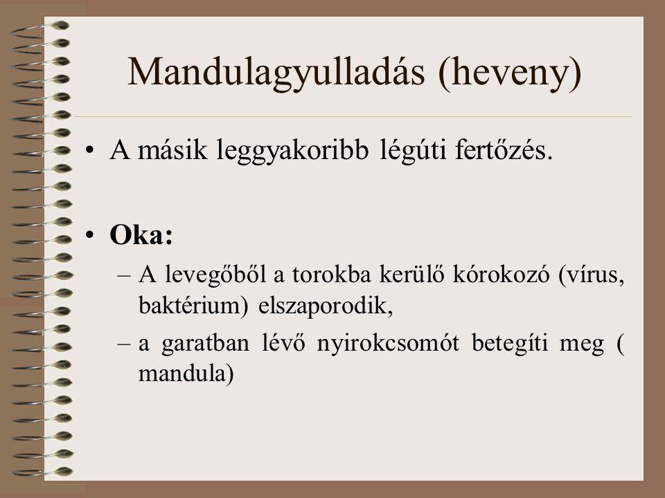 Mandulagyulladás (heveny) A másik leggyakoribb légúti fertőzés. Oka: –A levegőből a torokba kerülő kórokozó (vírus, baktérium) elszaporodik, –a garatb