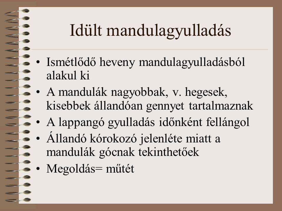 Idült mandulagyulladás Ismétlődő heveny mandulagyulladásból alakul ki A mandulák nagyobbak, v. hegesek, kisebbek állandóan gennyet tartalmaznak A lapp