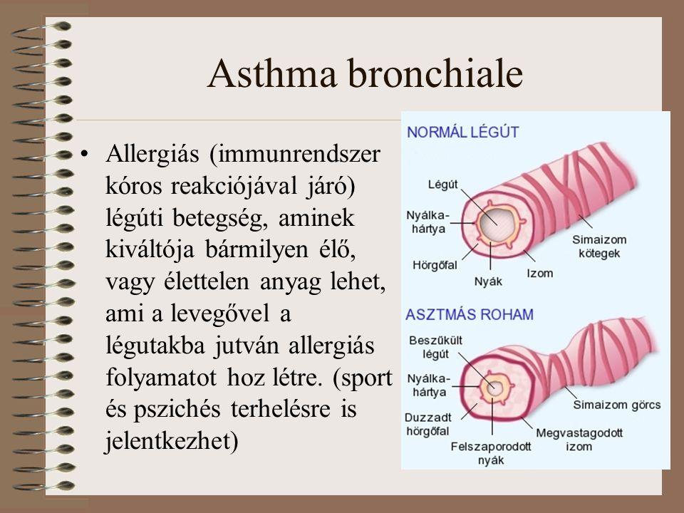 Asthma bronchiale Allergiás (immunrendszer kóros reakciójával járó) légúti betegség, aminek kiváltója bármilyen élő, vagy élettelen anyag lehet, ami a levegővel a légutakba jutván allergiás folyamatot hoz létre.