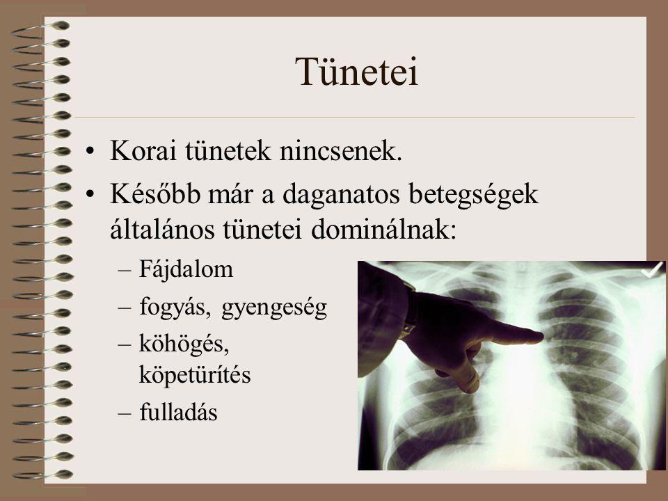 Tünetei Korai tünetek nincsenek. Később már a daganatos betegségek általános tünetei dominálnak: –Fájdalom –fogyás, gyengeség –köhögés, v köpetürítés