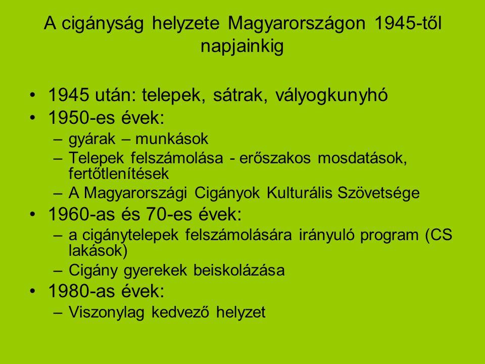 A cigányság helyzete Magyarországon 1945-től napjainkig 1945 után: telepek, sátrak, vályogkunyhó 1950-es évek: –gyárak – munkások –Telepek felszámolás