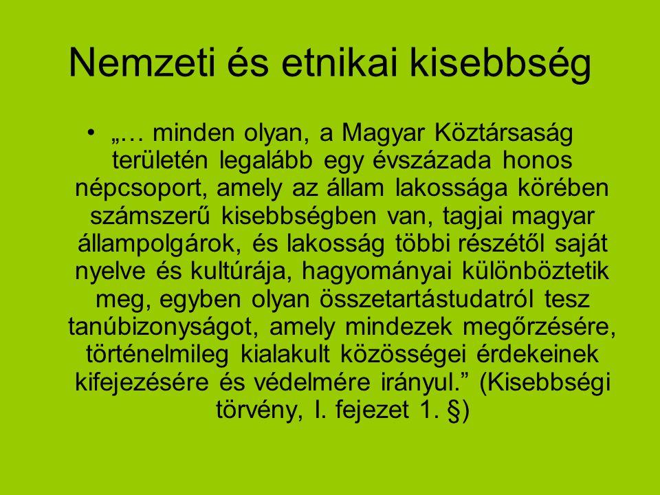 """Nemzeti és etnikai kisebbség """"… minden olyan, a Magyar Köztársaság területén legalább egy évszázada honos népcsoport, amely az állam lakossága körében"""