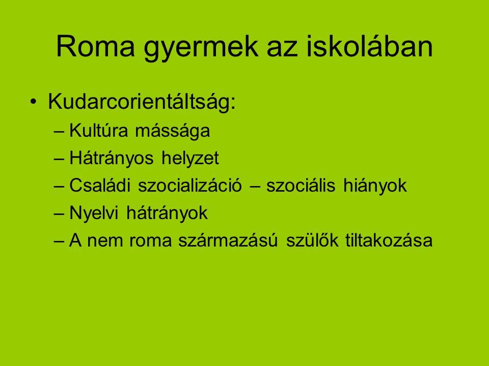 Roma gyermek az iskolában Kudarcorientáltság: –Kultúra mássága –Hátrányos helyzet –Családi szocializáció – szociális hiányok –Nyelvi hátrányok –A nem