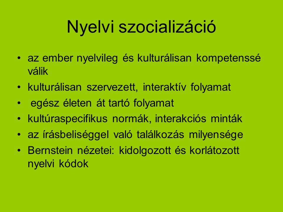 Nyelvi szocializáció az ember nyelvileg és kulturálisan kompetenssé válik kulturálisan szervezett, interaktív folyamat egész életen át tartó folyamat