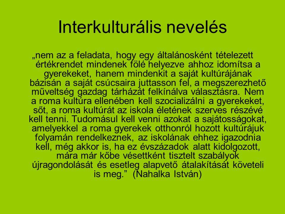 """Interkulturális nevelés """"nem az a feladata, hogy egy általánosként tételezett értékrendet mindenek fölé helyezve ahhoz idomítsa a gyerekeket, hanem mi"""