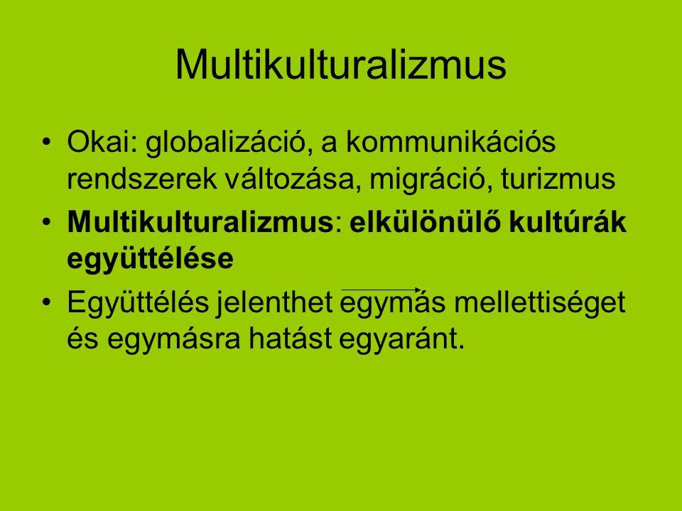 Multikulturalizmus Okai: globalizáció, a kommunikációs rendszerek változása, migráció, turizmus Multikulturalizmus: elkülönülő kultúrák együttélése Eg