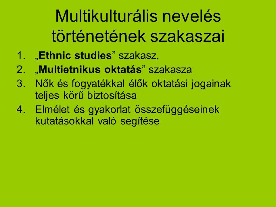 """Multikulturális nevelés történetének szakaszai 1.""""Ethnic studies"""" szakasz, 2.""""Multietnikus oktatás"""" szakasza 3.Nők és fogyatékkal élők oktatási jogain"""