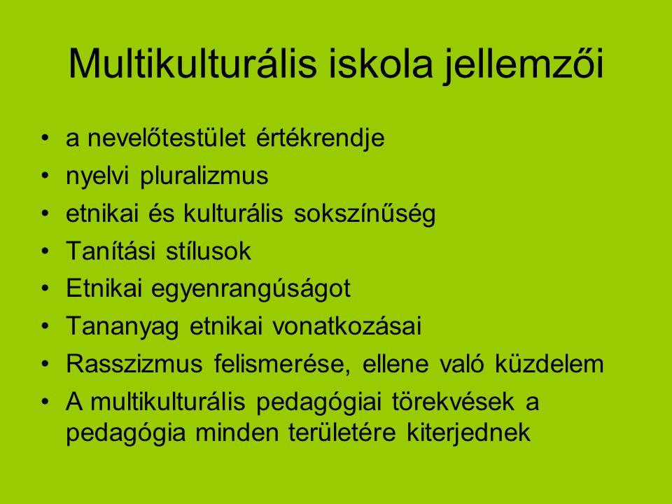 Multikulturális iskola jellemzői a nevelőtestület értékrendje nyelvi pluralizmus etnikai és kulturális sokszínűség Tanítási stílusok Etnikai egyenrang