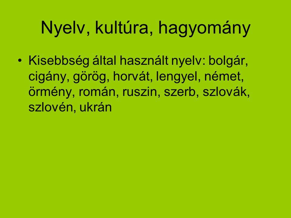 Nyelv, kultúra, hagyomány Kisebbség által használt nyelv: bolgár, cigány, görög, horvát, lengyel, német, örmény, román, ruszin, szerb, szlovák, szlové