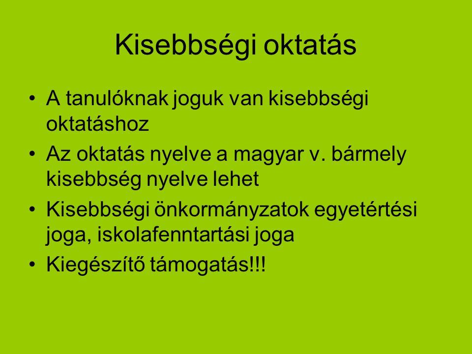 Kisebbségi oktatás A tanulóknak joguk van kisebbségi oktatáshoz Az oktatás nyelve a magyar v. bármely kisebbség nyelve lehet Kisebbségi önkormányzatok